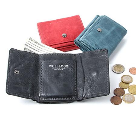 ウルフ&ドッグ 馬革 三つ折りコンパクト財布