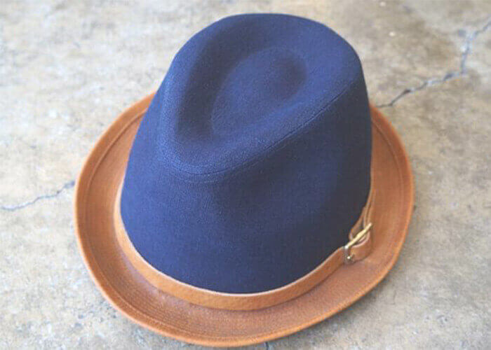 ロベルのハット Natural Dyed Canvas&Leather Hat Navy&Camel