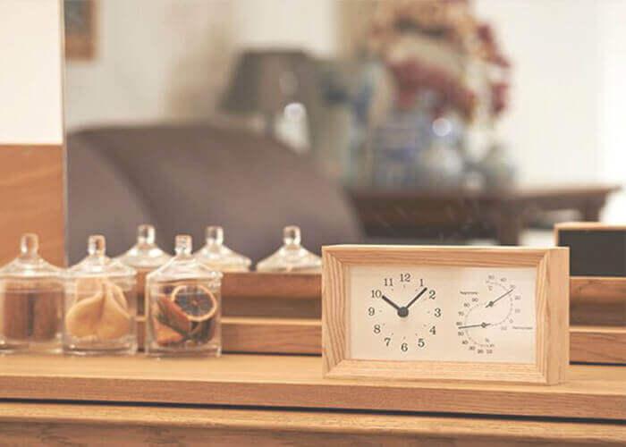 レムノスの置き時計 FRAME 温湿度計付
