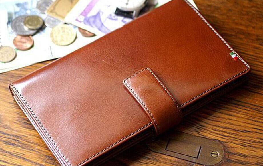 ミラグロの札入れ イタリア製ヌメ革 テラローザブラウン30枚カード収納長財布