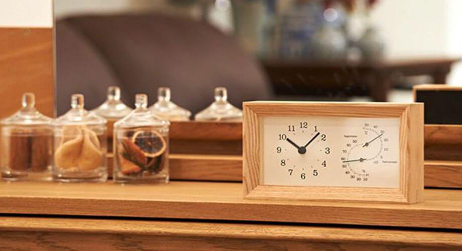 レムノス FRAME 温湿度計付 置き時計