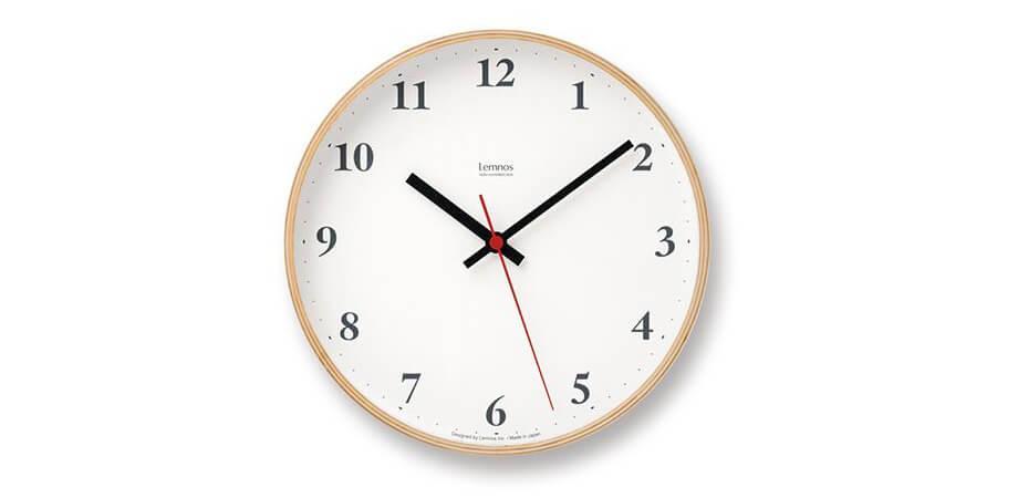 レムノス Plywood clock 電波時計 掛け時計 小型 Lemnos